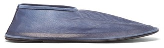 The Row Leather And Mesh Ballet Flats - Navy