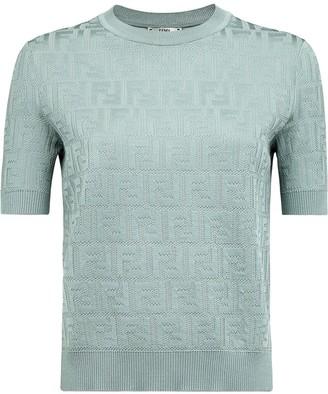 Fendi short sleeve jacquard FF motif jumper