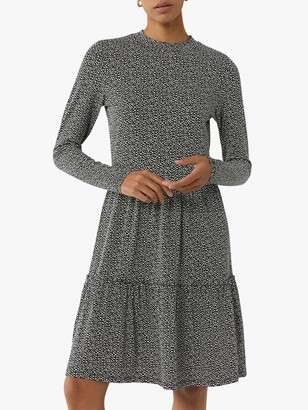 Warehouse Brushed Spot Tiered Mini Dress, Black Pattern