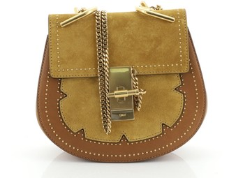 Chloé Drew Crossbody Bag Studded Leather and Suede Small