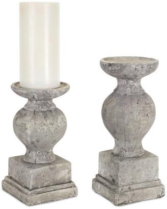 "Melrose International Candle Holder, Set of 2, 12""H, 14.5""H Cement"