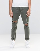 Religion Bloody Chinos with Ripped Knees