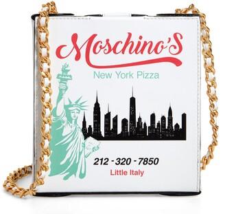 Moschino NYC Skyline Pizza Box Leather Shoulder Bag