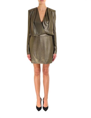Saint Laurent Long-Sleeved Front Wrap Mini Dress