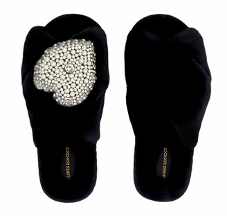 Laines London Black Fluffy Slippers With Pearl & Diamante Heart Brooch