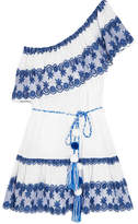 Miguelina Gauze-paneled Broderie Anglaise Cotton-voile Mini Dress - Bright blue