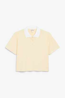 Monki Cropped pique polo shirt