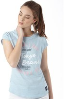 Tokyo Laundry Womens Dala Flock And Print T-Shirt Cashmere Blue