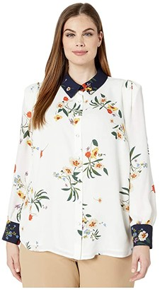 Vince Camuto Specialty Size Plus Size Long Sleeve Surreal Garden Button-Down Blouse (Pearl Ivory) Women's Clothing