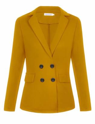 Hawiton Women Lapel Suit Jacket Casual Long Sleeve Blazer Work Office Open Front Blazers Red