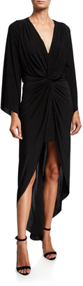 MISA Teget Twisted High-Low Maxi Dress