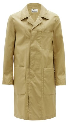 Acne Studios Patch Pocket Single-breasted Cotton Overcoat - Mens - Beige
