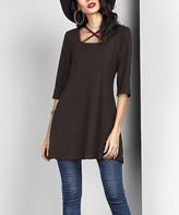 Reborn Collection Women's Tunics Black - Black Tie-Neck Tunic - Women