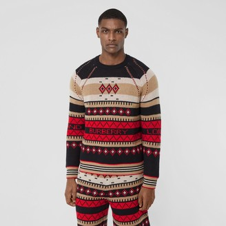 Burberry Icon Stripe Detail Fair Isle Cashmere Sweater