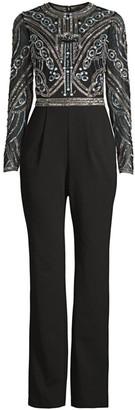 Aidan Mattox Embellished-Bodice Long-Sleeve Jumpsuit