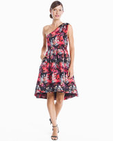 White House Black Market Victoria One-Shoulder Printed Fit-and-Flare Dress