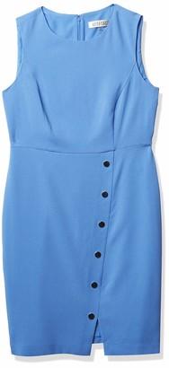 Kasper Women's Stretch Crepe Sleeveless Sheath Dress with Snapped Skirt