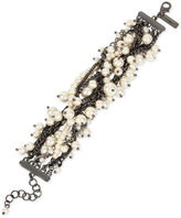 INC International Concepts Hematite-Tone Imitation Pearl and Chain Link Bracelet, Only at Macy's