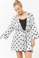 Forever 21 Satin Polka Dot Robe