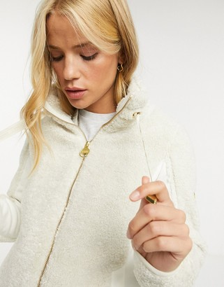 Barbour International Competition borg zip-up jacket in cream