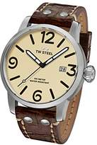 TW Steel Men's 'Maverick' Quartz Stainless and Leather Casual Watch, Color:Brown (Model: MS21)