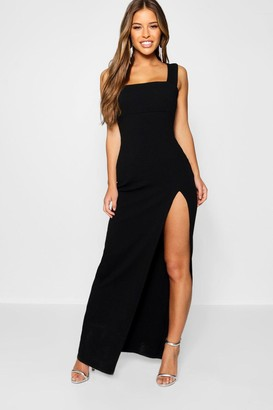 boohoo Petite Square Neck Split Maxi Dress