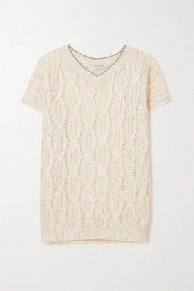 Brunello Cucinelli Metallic-trimmed Cable-knit Linen-blend Sweater - Off-white