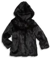Adrienne Landau Toddler's, Little Girl's & Girl's Rabbit Fur Hooded Coat