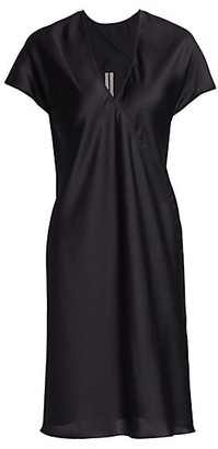 Rick Owens Satin V-Neck Shift Dress