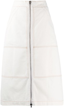 Erika Cavallini Stitch Detail Front Zip Skirt