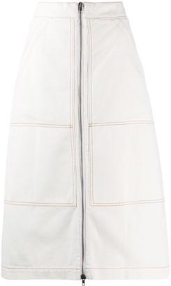 Erika Cavallini Stitch Detail Front Zip Skirt