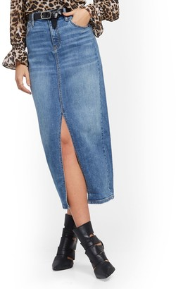 New York & Co. High-Waist Front-Slit Denim Skirt