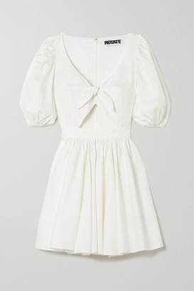 Rotate by Birger Christensen Marie Tie-front Cutout Organic Cotton-poplin Mini Dress - White