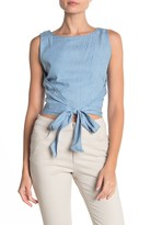 Moon River Tie Side Chambray Crop Top