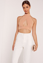 Missguided Buckle Waist Wrap Crop Top Nude