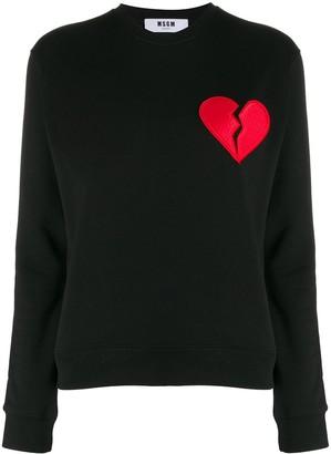 MSGM broken heart patch sweatshirt