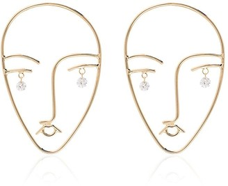 Matisse Persée 18kt yellow gold and diamond face earrings