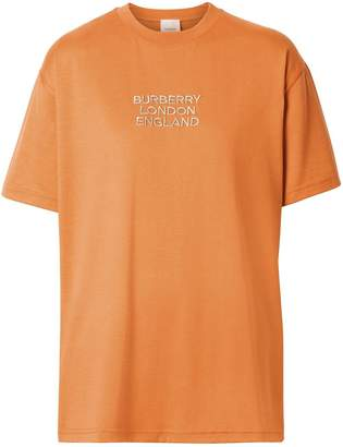Burberry Embroidered Logo Cotton Oversized T-shirt