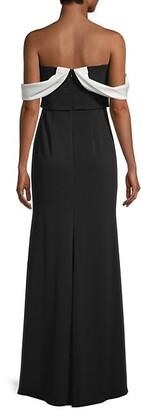 Carmen Marc Valvo Colorblock Crepe Gown