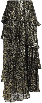 A.L.C. Tiered Metallic Fil Coupe Silk-blend Maxi Skirt