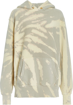 LES TIEN Exclusive Cropped Tie-Dyed Cotton Hoodie