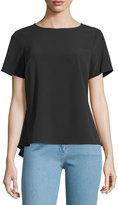 MICHAEL Michael Kors Short-Sleeve Zip Peplum Top, Black