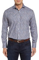 Thomas Dean Men's Regular Fit Floral Print Sport Shirt