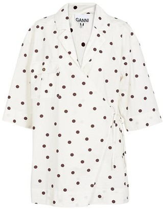 Ganni Printed cotton wrap shirt