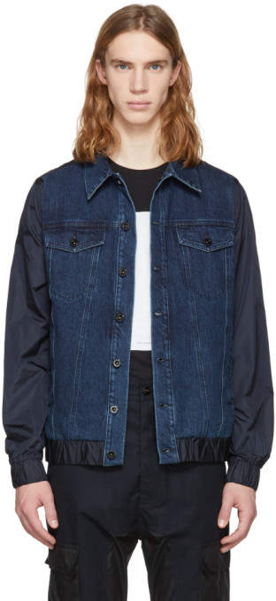 Diesel Black Gold Blue Denim and Nylon Jacket