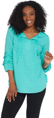 Isaac Mizrahi Live! Swiss Dot Blouse with Ruffle Sleeves