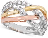 Giani Bernini Cubic Zirconia Tricolor Crisscross Ring, Created for Macy's