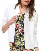 Haoduoyi Womens Casual Candy Color Slim Open Front Crop Blazer Jacket(XL,)