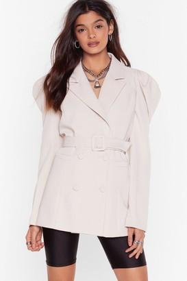 Nasty Gal Womens Feelin' Powerful Puff Shoulder Belted Blazer - Beige - S