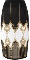 Balmain patterned baroque pencil skirt